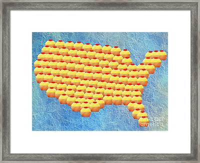 Cupcake Country Usa Map Framed Print by Andee Design