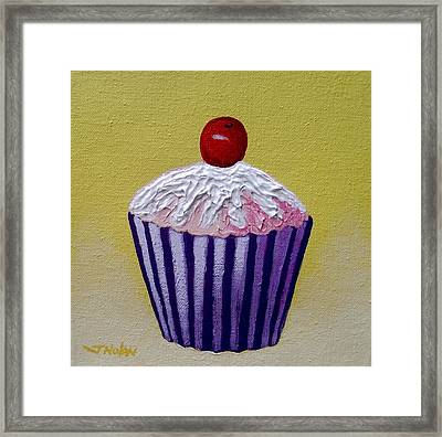 Cupcake On Yellow Framed Print by John  Nolan