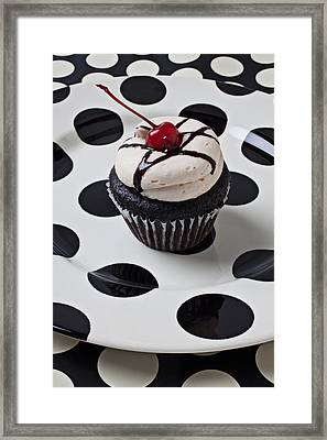 Cupcake With Cherry Framed Print by Garry Gay