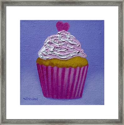 Cupcake With Heart Framed Print by John  Nolan