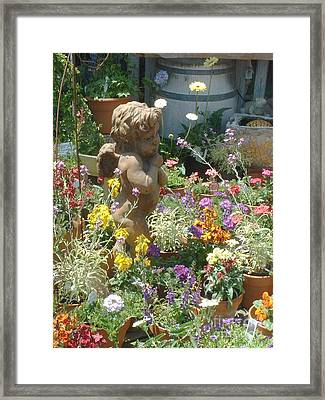 Cupid And A Mixed Bouquet Framed Print by Joan  Jones