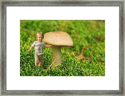 Cute Tiny Boy Playing In The Forest Framed Print by Jaroslaw Grudzinski