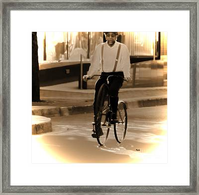 Cycling From Vintage Past  Framed Print by Steven  Digman