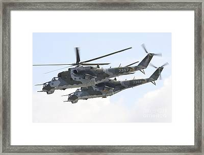 Czech Air Force Mi-24 Hind Helicopters Framed Print by Timm Ziegenthaler