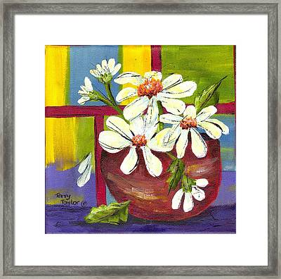 Daisies In A Red Bowl Framed Print by Terry Taylor