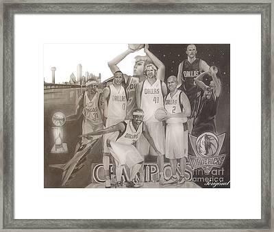 Dallas Mavericks Champs Framed Print by Teriginal Washington