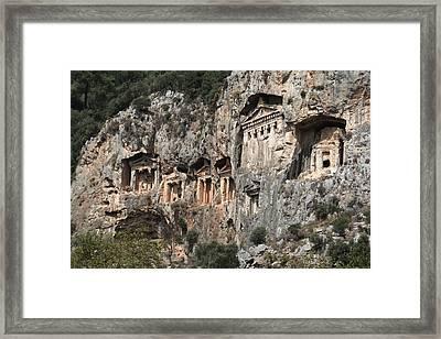 Dalyan Rock Tombs Turkey Framed Print by Julie L Hoddinott