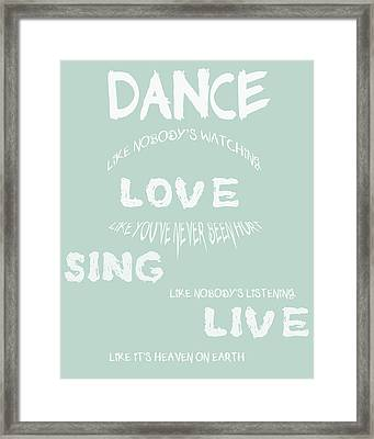 Dance Like Nobody's Watching - Blue Framed Print by Georgia Fowler
