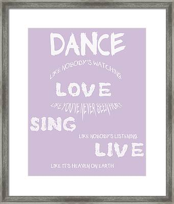 Dance Like Nobody's Watching - Lilac Framed Print by Georgia Fowler