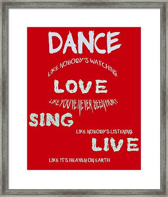 Dance Like Nobody's Watching - Red Framed Print by Georgia Fowler