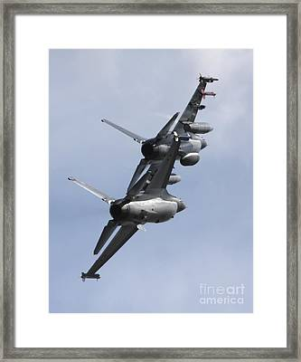Danish F-16a And F-16b In Formation Framed Print by Timm Ziegenthaler