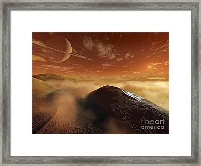 Dark Dunes Are Shaped By The Moons Framed Print by Steven Hobbs