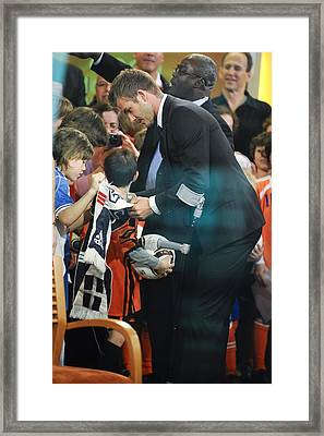 David Beckham, Visits Good Morning Framed Print by Everett