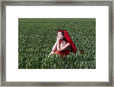 Day Dreams Woman In Red Series Framed Print by Cindy Singleton