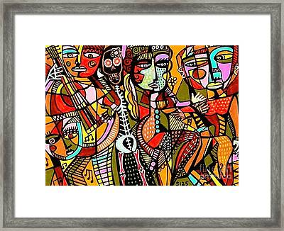 Day Of The Dead Lovers Tango Framed Print by Sandra Silberzweig