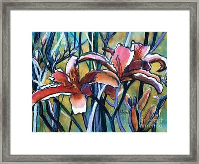 Daylily Stix Framed Print by Kathy Braud