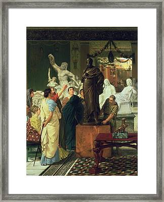 Dealer In Statues  Framed Print by Sir Lawrence Alma-Tadema