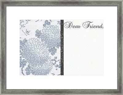 Dear Friend Framed Print by Dana Vogel