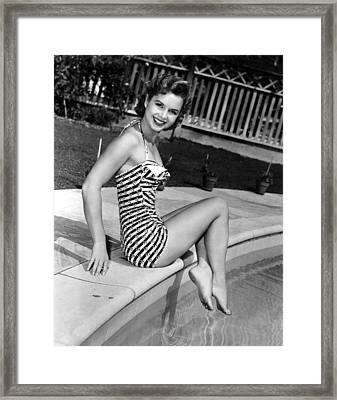 Debbie Reynolds Poolside, 1954 Framed Print by Everett