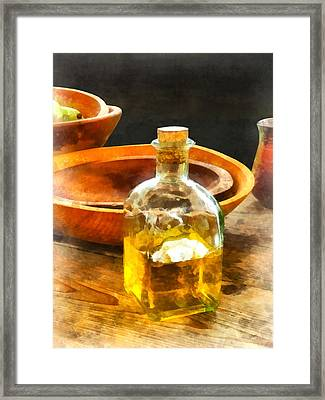Decanter Of Oil Framed Print by Susan Savad