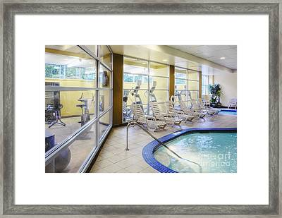 Deck Chairs Around Hotel Pool Framed Print by Andersen Ross