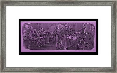 Declaration Of Independence In Pink Framed Print by Rob Hans