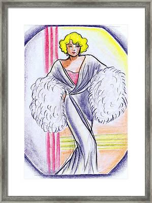 Deco Gown With Feathers Framed Print by Mel Thompson