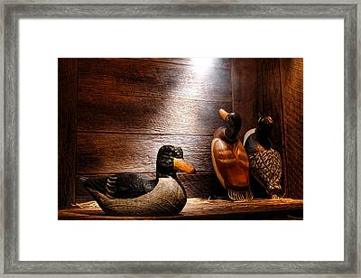 Decoys In Old Hunting Cabin Framed Print by Olivier Le Queinec