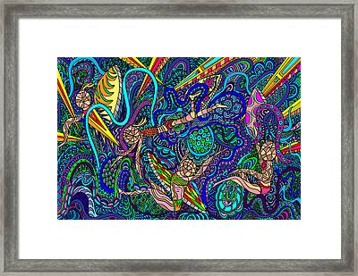 Deep Blue Surfing Framed Print by Karen Elzinga