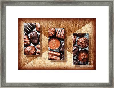 Deep Rich Chocolates Triptych Framed Print by Andee Design