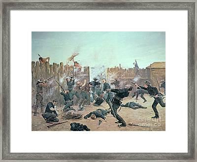 Defending The Fort Framed Print by Charles Schreyvogel