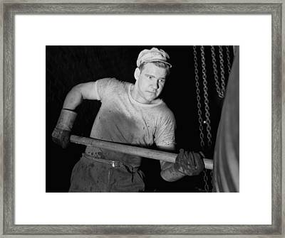 Defense Worker At The Goodrich Rubber Framed Print by Everett
