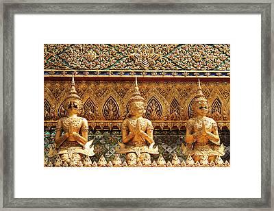 Demon Guardian Statues At Wat Phra Kaew Framed Print by Panyanon Hankhampa