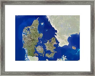 Denmark, Satellite Image Framed Print by Planetobserver