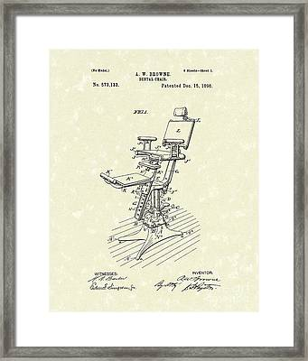Dental Chair 1896 Patent Art Framed Print by Prior Art Design