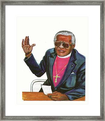 Desmond Tutu Framed Print by Emmanuel Baliyanga