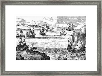 Destruction Of The Spanish Fleet Framed Print by Everett