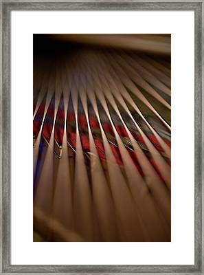 Detail Of Piano Strings Framed Print by Christopher Kontoes