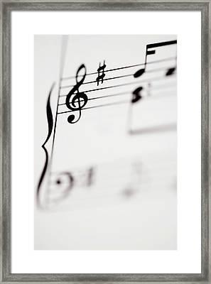Detail Of Sheet Music Framed Print by Junior Gonzalez