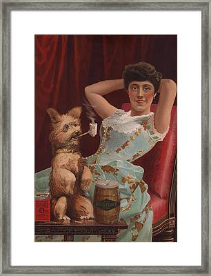 Detail Of Smoking Dog In Advertisement Framed Print by Everett