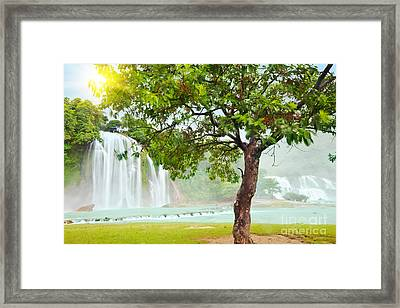 Detian And Ban Gioc Waterfall Framed Print by MotHaiBaPhoto Prints