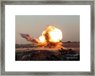Detonation Of A Weapons Cache Framed Print by Stocktrek Images