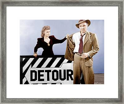 Detour, From Left Ann Savage, Tom Neal Framed Print by Everett