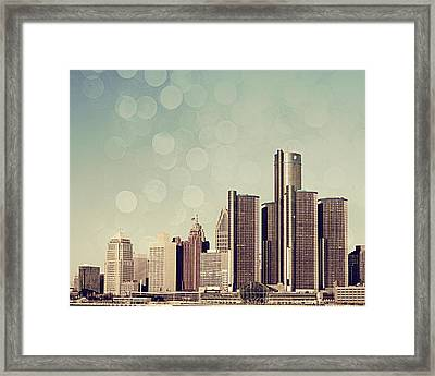 Detroit Dreamy Skyline Framed Print by Alanna Pfeffer