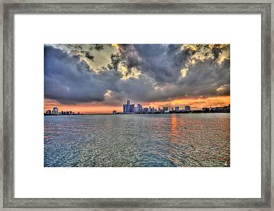 Detroit Sunset  Framed Print by Nicholas  Grunas