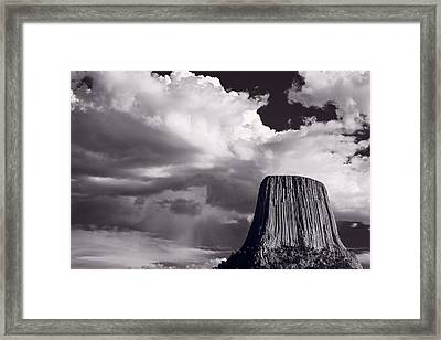 Devils Tower Wyoming Bw Framed Print by Steve Gadomski