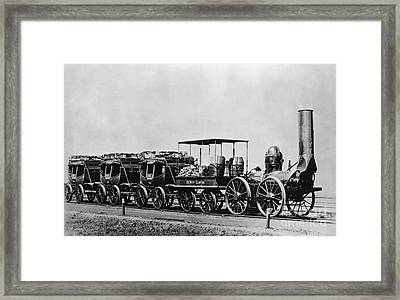 Dewitt Clinton Locomotive And Cars Framed Print by Omikron