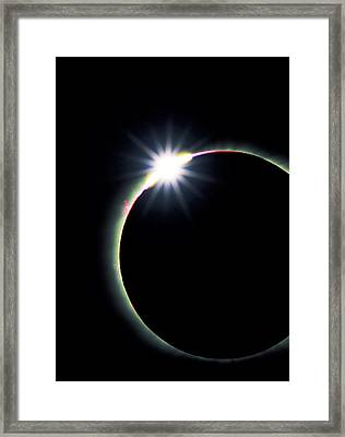Diamond Ring Effect During Solar Eclipse Framed Print by David Nunuk
