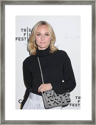 Diane Kruger Carrying A Chanel Bag Framed Print by Everett