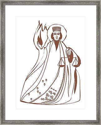 Digital Illustration Of Asha Vahishta Holding Scales With Flames Arising Behind Framed Print by Dorling Kindersley